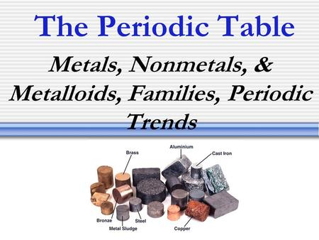 The Periodic Table Metals, Nonmetals, & Metalloids, Families, Periodic Trends.