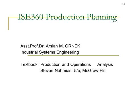 ISE360 Production Planning