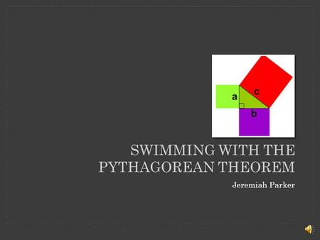 SWIMMING WITH THE PYTHAGOREAN THEOREM Jeremiah Parker.