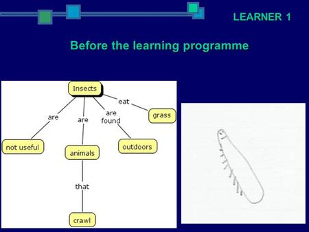 LEARNER 1 Before the learning programme. LEARNER 1 After the learning programme.