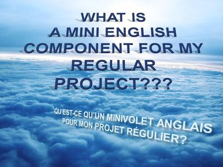 But, it is an English part of my project! It is something like the geography, history, art or science part of my project….