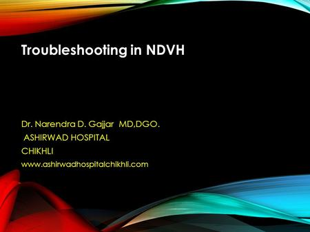 Troubleshooting in NDVH