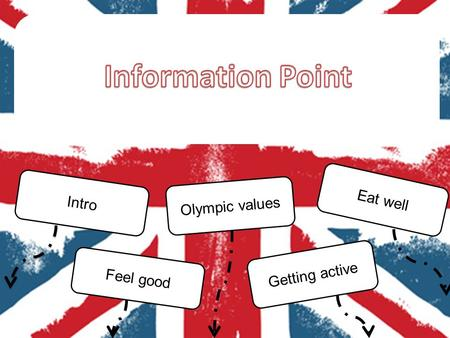 Intro Olympic values Eat well Getting active Feel good.