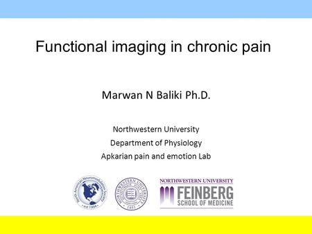 Functional imaging in chronic pain Marwan N Baliki Ph.D. Northwestern University Department of Physiology Apkarian pain and emotion Lab.