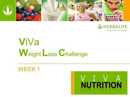 WEEK 1 ViVa W eight L oss C hallenge. 2 WELCOME! Week 1 Getting Started ViVa Weight Loss Challenge.