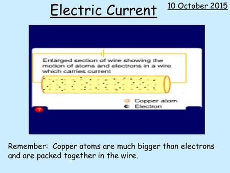 Electric Current Remember: Copper atoms are much bigger than electrons and are packed together in the wire. + 10 October 2015.
