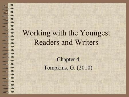 Working with the Youngest Readers and Writers