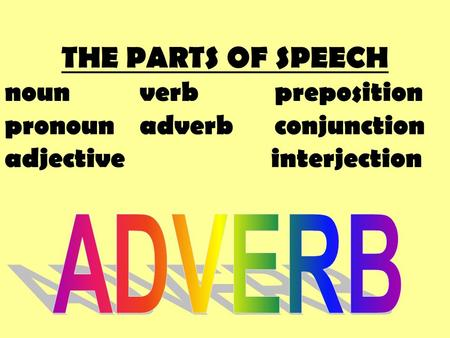 THE PARTS OF SPEECH nounverbpreposition pronounadverbconjunction adjective interjection.