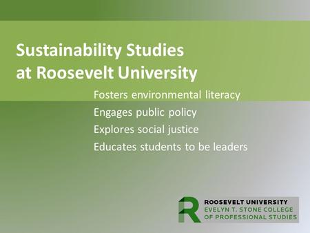 Sustainability Studies at Roosevelt University Fosters environmental literacy Engages public policy Explores social justice Educates students to be leaders.