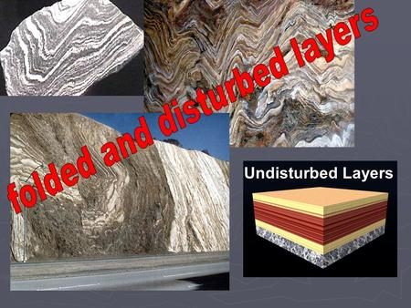 Undisturbed Layers. How is rock deformation discussed? (stress and strain relationships) Stress force (pressure) acting on the rock surface force (pressure)
