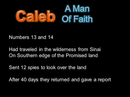 Numbers 13 and 14 Had traveled in the wilderness from Sinai On Southern edge of the Promised land Sent 12 spies to look over the land After 40 days they.