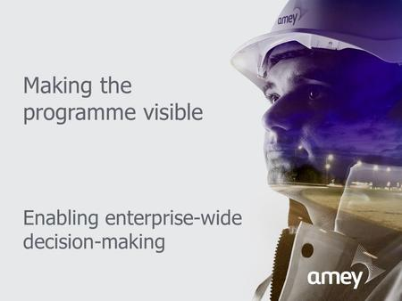 Making the programme visible Enabling enterprise-wide decision-making.