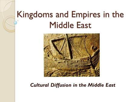 Kingdoms and Empires in the Middle East Cultural Diffusion in the Middle East.