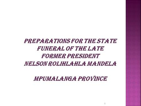 PREPARATIONS FOR THE STATE FUNERAL OF THE LATE FORMER PRESIDENT NELSON ROLIHLAHLA MANDELA MPUMALANGA PROVINCE 1.
