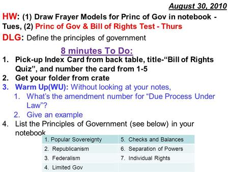 8 minutes To Do: August 30, 2010 HW: (1) Draw Frayer Models for Princ of Gov in notebook - Tues, (2) Princ of Gov & Bill of Rights Test - Thurs DLG: Define.