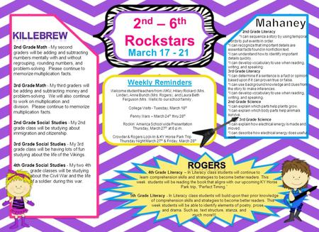 2 nd – 6 th Rockstars March 17 - 21 Weekly Reminders 4th Grade Literacy – In Literacy class students will continue to learn comprehension skills and strategies.