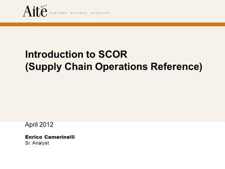 Introduction to SCOR (Supply Chain Operations Reference)