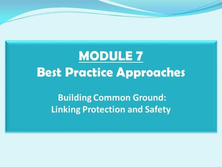 MODULE 7 Best Practice Approaches Building Common Ground: Linking Protection and Safety 1.