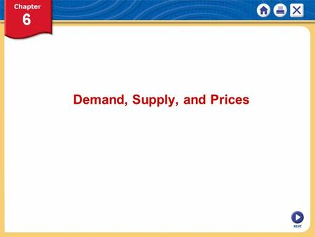 NEXT Demand, Supply, and Prices. NEXT Chapter 6: Demand, Supply, and Prices KEY CONCEPT The equilibrium price is the price at which quantity demanded.