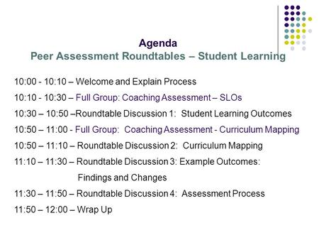 Agenda Peer Assessment Roundtables – Student Learning 10:00 - 10:10 – Welcome and Explain Process 10:10 - 10:30 – Full Group: Coaching Assessment – SLOs.