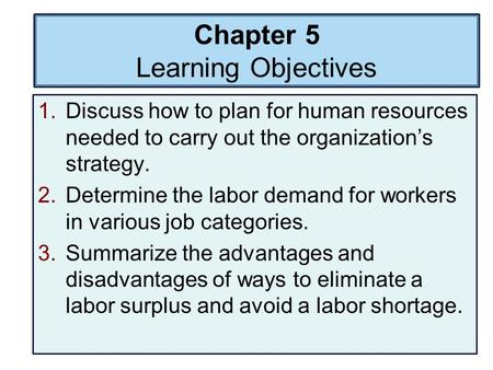 Chapter 5 Learning Objectives 1.Discuss how to plan for human resources needed to carry out the organization's strategy. 2.Determine the labor demand for.