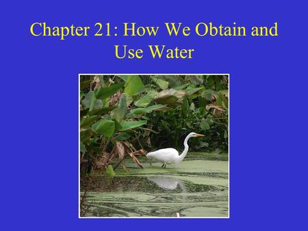 Chapter 21: How We Obtain and Use Water. Water To understand water, we must understand its characteristics, and roles: –Water has a high capacity to absorb.