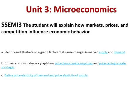 Unit 3: Microeconomics SSEMI3 The student will explain how markets, prices, and competition influence economic behavior. a. Identify and illustrate on.