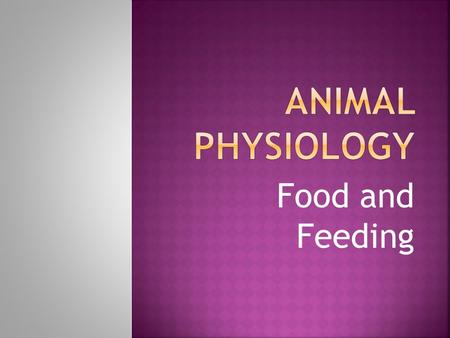 Food and Feeding.  Food supplies the animal with energy for all animal activities.  To provide the materials for growth and repair of cells  To provide.