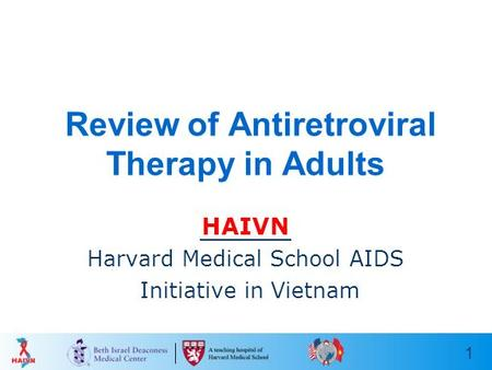 1 Review of Antiretroviral Therapy in Adults HAIVN Harvard Medical School AIDS Initiative in Vietnam.