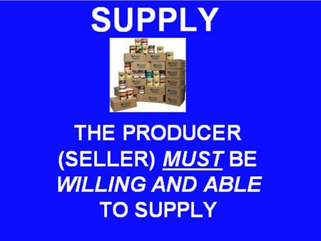 SUPPLY – A PRODUCT OFFERED FOR SALE AT ALL POSSIBLE PRICES THAT COULD PREVAIL IN THE MARKET.
