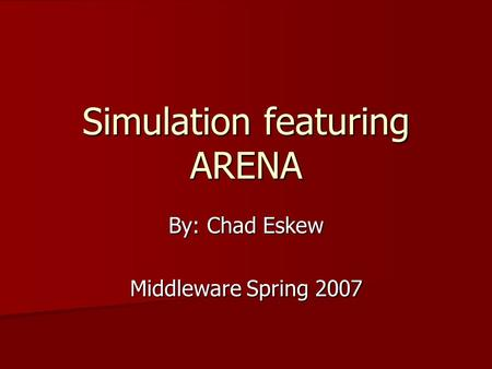 thesis simulation arena