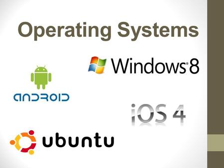 Operating Systems. Without an operating system your computer would be useless! A computer contains an Operating System on its Hard Drive. This is loaded.