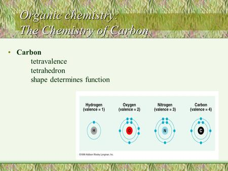 Organic chemistry: The Chemistry of Carbon Carbon tetravalence tetrahedron shape determines function.
