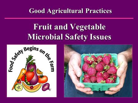 Good Agricultural Practices Fruit and Vegetable Microbial Safety Issues Good Agricultural Practices Fruit and Vegetable Microbial Safety Issues.