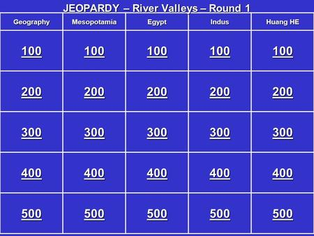GeographyMesopotamiaEgyptIndus Huang HE 100 200 300 400 500 JEOPARDY – River Valleys – Round 1.