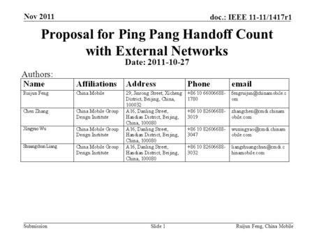 Submission doc.: IEEE 11-11/1417r1 Nov 2011 Ruijun Feng, China MobileSlide 1 Proposal for Ping Pang Handoff Count with External Networks Date: 2011-10-27.