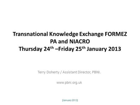 [January 2013] Transnational Knowledge Exchange FORMEZ PA and NIACRO Thursday 24 th –Friday 25 th January 2013 Terry Doherty / Assistant Director, PBNI.