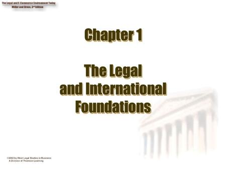 Chapter 1 The Legal and International Foundations.