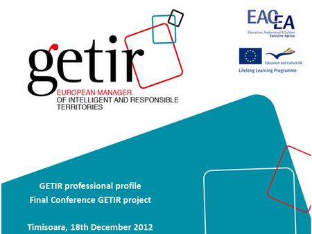 GETIR professional profile Final Conference GETIR project Timisoara, 18th December 2012.
