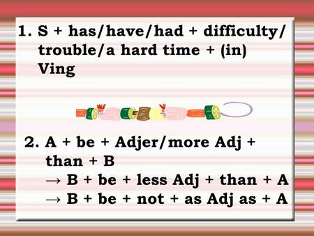 1. S + has/have/had + difficulty/ trouble/a hard time + (in) V­ing 2. A + be + Adj­er/more Adj + than + B → B + be + less Adj + than + A → B + be + not.
