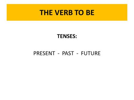 THE VERB TO BE TENSES: PRESENT - PAST - FUTURE. TO BE: Present Tense I am... I am a student. I am –ing... I am being realistic. I... I study every night.