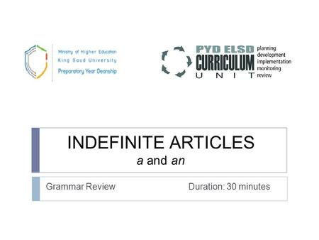 INDEFINITE ARTICLES a and an Grammar Review Duration: 30 minutes.