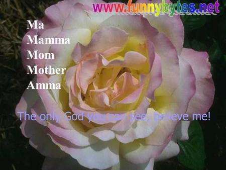 Ma Mamma Mom Mother Amma The only God you can see, believe me!