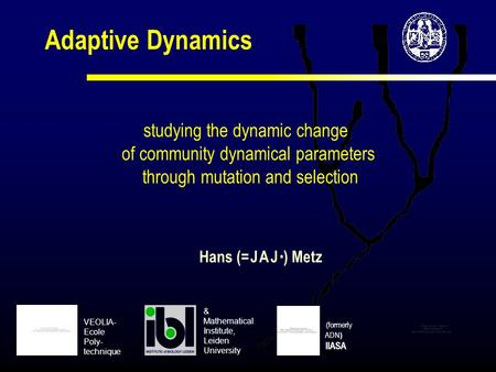 Adaptive Dynamics studying the dynamic change of community dynamical parameters through mutation and selection Hans (= J A J * ) Metz (formerly ADN ) IIASA.