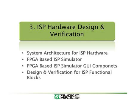 System Architecture for ISP Hardware System Architecture for ISP Hardware FPGA Based ISP Simulator FPGA Based ISP Simulator FPGA Based ISP Simulator GUI.
