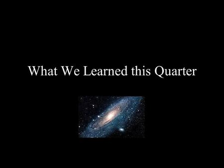 What We Learned this Quarter. What is the Moon? A natural satellite One of more than 96 moons in our Solar System The only moon of the planet Earth.