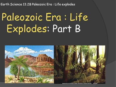 Earth Science 13.2B Paleozoic Era : Life explodes Paleozoic Era : Life Explodes: Part B.