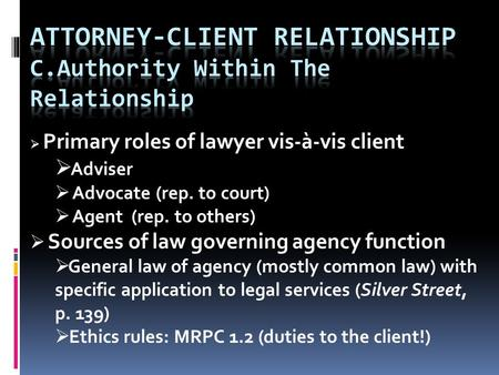  Primary roles of lawyer vis-à-vis client  Adviser  Advocate (rep. to court)  Agent (rep. to others)  Sources of law governing agency function  General.