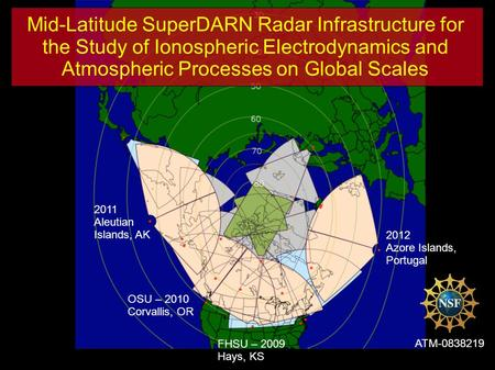 Mid-Latitude SuperDARN Radar Infrastructure for the Study of Ionospheric Electrodynamics and Atmospheric Processes on Global Scales ATM-0838219 FHSU –