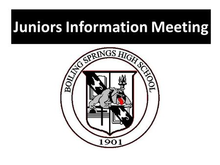 Juniors Information Meeting. Welcome and Introductions Principal – Mr. Chuck Gordon Assistant Principal – Mrs. Danette West Counselor – Mr. Hank Mason.